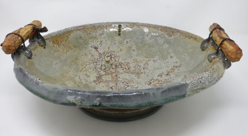 handled crackle serving bowl