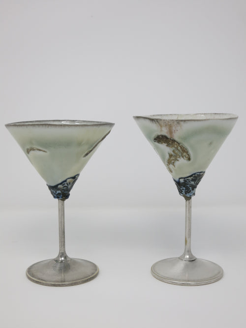 silver stemmed martini cups