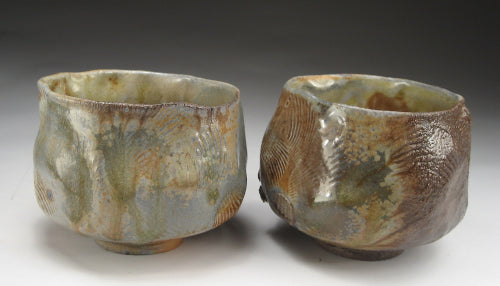 wood fired shell tea bowls