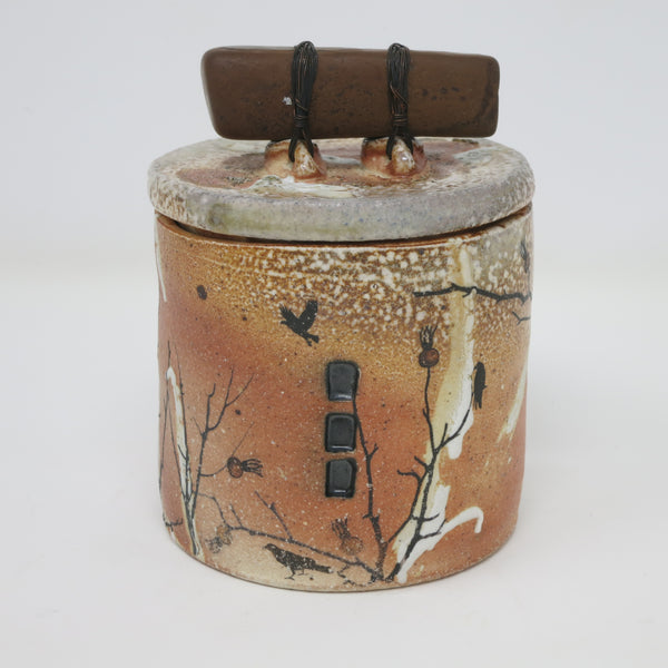 Raven Canister with Stone Handle