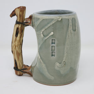 Crackle Beer Stein with Wood Handle
