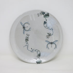 White Salad Plate (Wild Roses & Dragonflies)