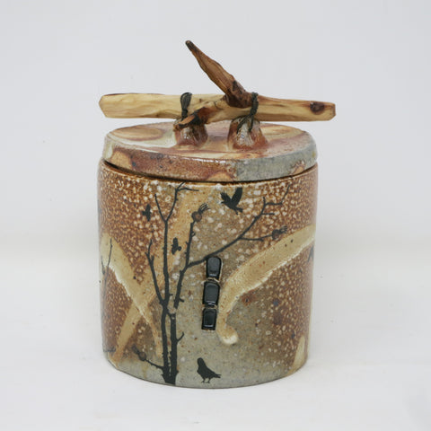 Raven Canister with Willow Handle