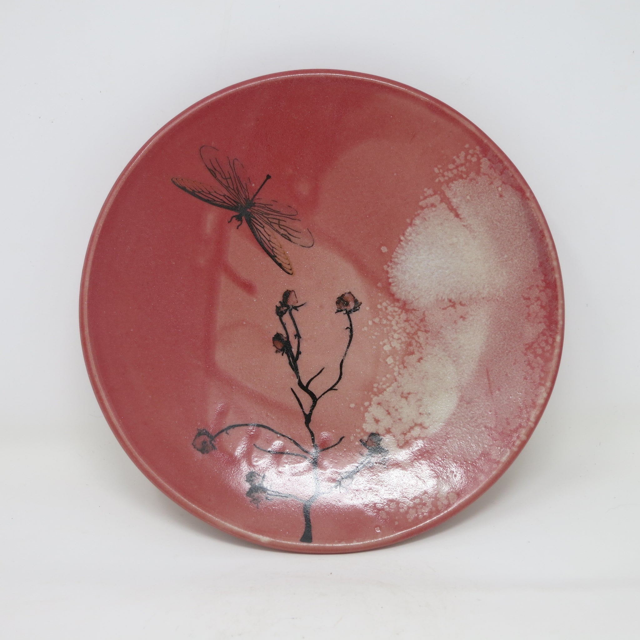 Red Rose Plate (with dragonflies)