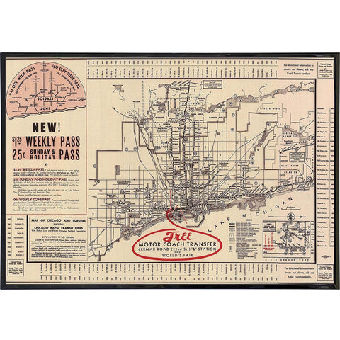 Chicago 1934 Transportation Map Print - Falstaff Trading