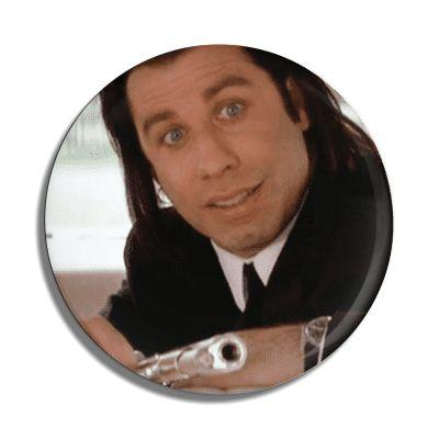 "John Travolta ""Pulp Fiction"" Button - Falstaff Trading"