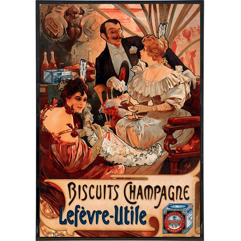 """Biscuits Champagne"" by Alphonse Mucha Print - Falstaff Trading / Nerd culture, Horror, B-movies, cult classic - uniquely cool / falstafftrading.com"
