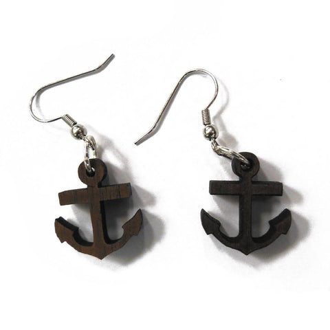 Wooden Anchor Earrings - Falstaff Trading