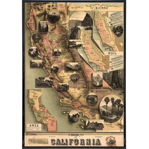 "California ""Unique Map"" Print - Falstaff Trading / Nerd culture, Horror, B-movies, cult classic - uniquely cool / falstafftrading.com"