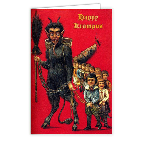 Krampus, With Children In Tow Greeting Card