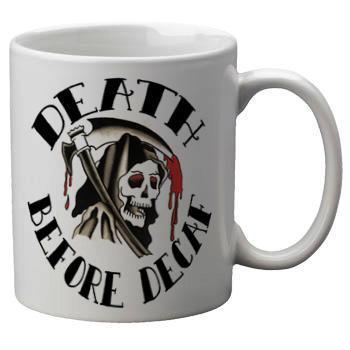 Death Before Decaf Mug - Falstaff Trading / Nerd culture, Horror, B-movies, cult classic - uniquely cool / falstafftrading.com