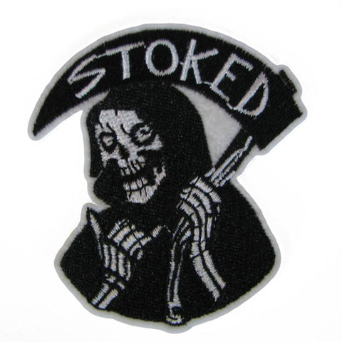 Death Stoked Embroidered Patch - Falstaff Trading / Nerd culture, Horror, B-movies, cult classic - uniquely cool / falstafftrading.com