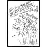 Exploded View Drawing of a Handgun Print