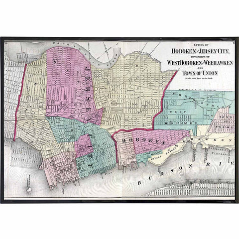 Hoboken and Nearby Towns 1872 Map Print - Falstaff Trading