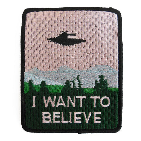I Want To Believe Embroidered Patch - Falstaff Trading