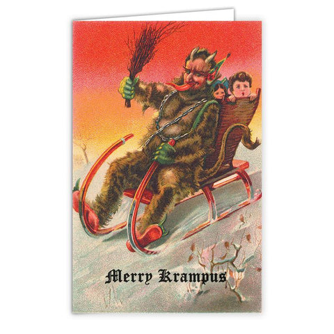 Sleigh Ride with Krampus Card - Falstaff Trading