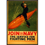 "Vintage ""Join the Navy"" Recruitment Poster Print"