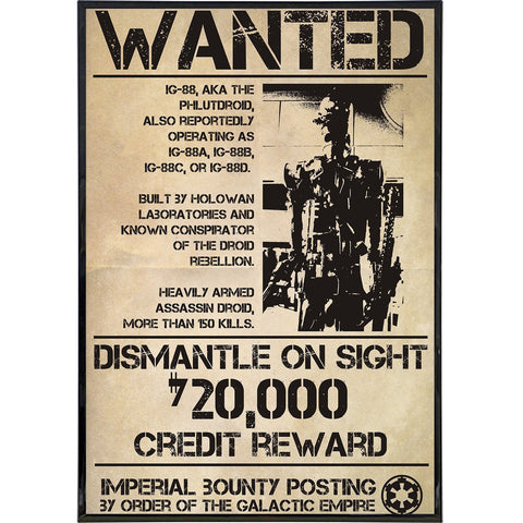 IG-88 Star Wars Wanted Poster Print