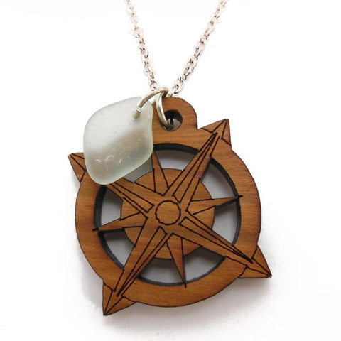 Wooden Compass Necklace - Falstaff Trading