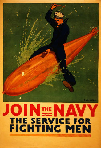Vintage Navy Recruitment Poster Postcard - Falstaff Trading