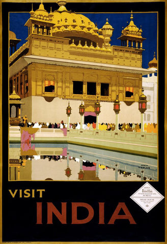 Vintage Visit India Travel Poster Postcard - Falstaff Trading