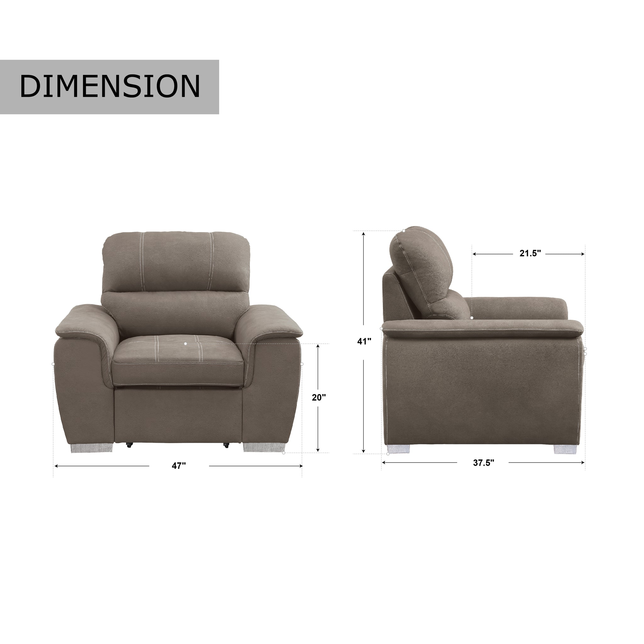 Picture of: Gilberts Chair With Pull Out Ottoman Taupe Brown Fremont Park
