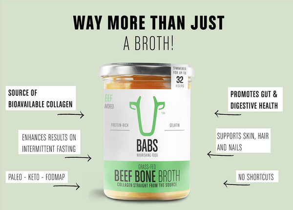 Organic beef bone broth with collagen to support healthy gut and intestinal flora