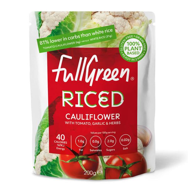 riced cauliflower with herbs for rice replacement on paleo, keto or vegan diets
