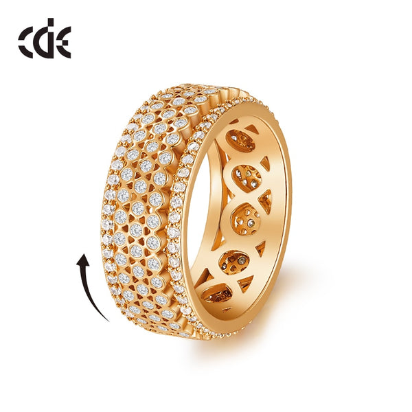 CDE Women Gold Ring Jewellery Embellished with crystals Wedding Zircon Turn the Ring Engagement Gift Jewelry