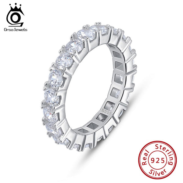 ORSA JEWELS Newest Zircon Stunning Women Thin Ring Sterling Silver Dating Party Authentic 925 Rings Fashion Fine Jewelry SR205