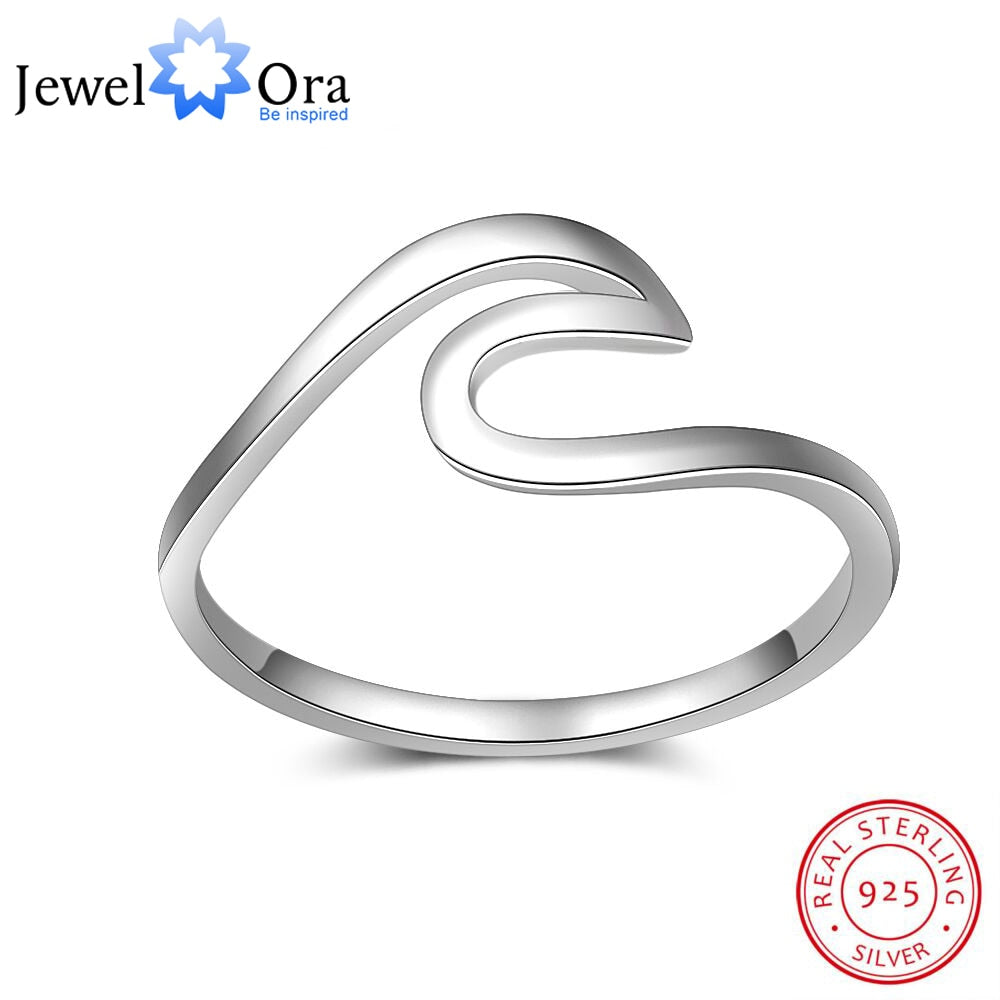 925 Sterling Silver Ocean Wave Rings for Women Simple Female Finger Ring Wedding Bands Fashion Jewelry (JewelOra RI102802)