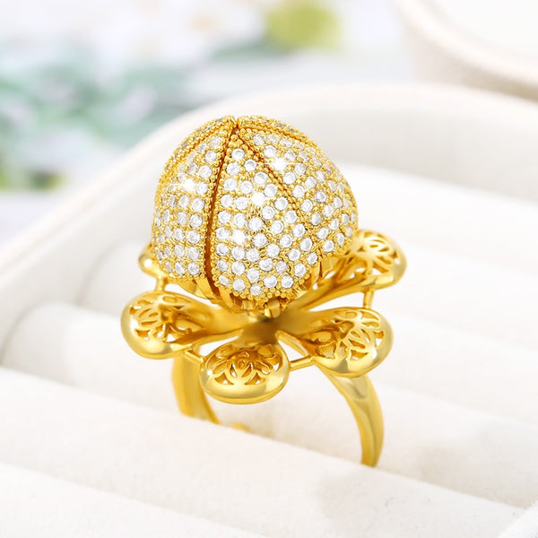 2020 New Gold Stainless Steel Hollow-out Adjustable Blooming Bud Ring Ladies Fashion Glitter Charm Christmas Gifts Men Metal