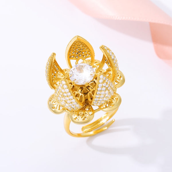 New And Creative Beautiful Flower Bud Gold Ring Adjustable Switch Cubic Zirconia Anniversary Charm Party Ring Female JewelryGift