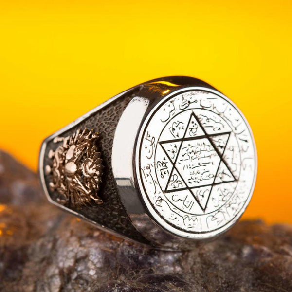 925 Sterling Silver Seal of Solomon Men's Ring with Ottoman Crest and Moon Star Solomon's Seal Ring for Men