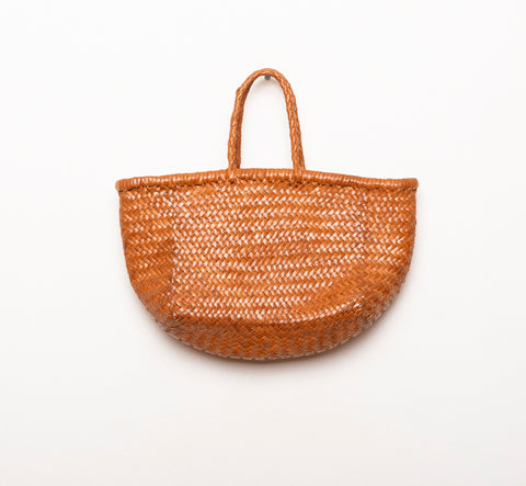 LEATHER BASKET  LONG BROWN  S