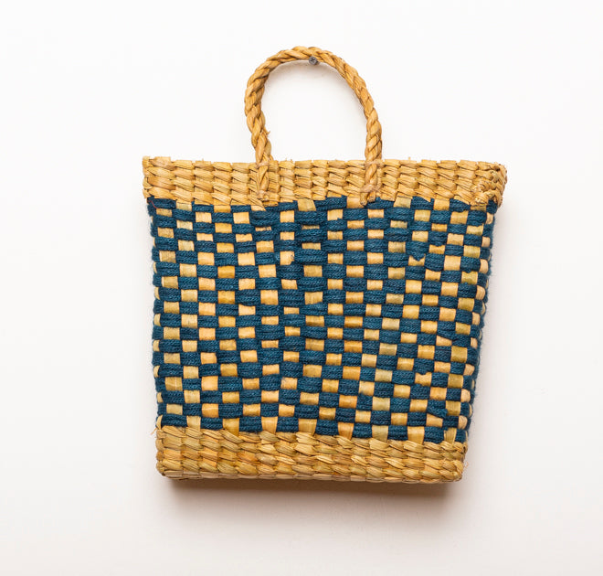 BASKET VINTAGE BLUE L
