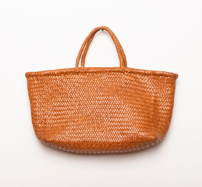LEATHER BASKET LONG BROWN  L