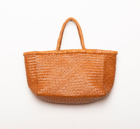 LEATHER BASKET  LONG BROWN  M