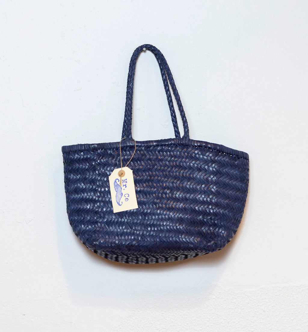 LEATHER BASKET  LONG BLUE  S