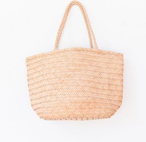 LEATHER BASKET SQUARE NATURAL  M