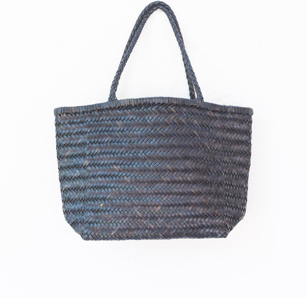 LEATHER BASKET LONG BLUE  M