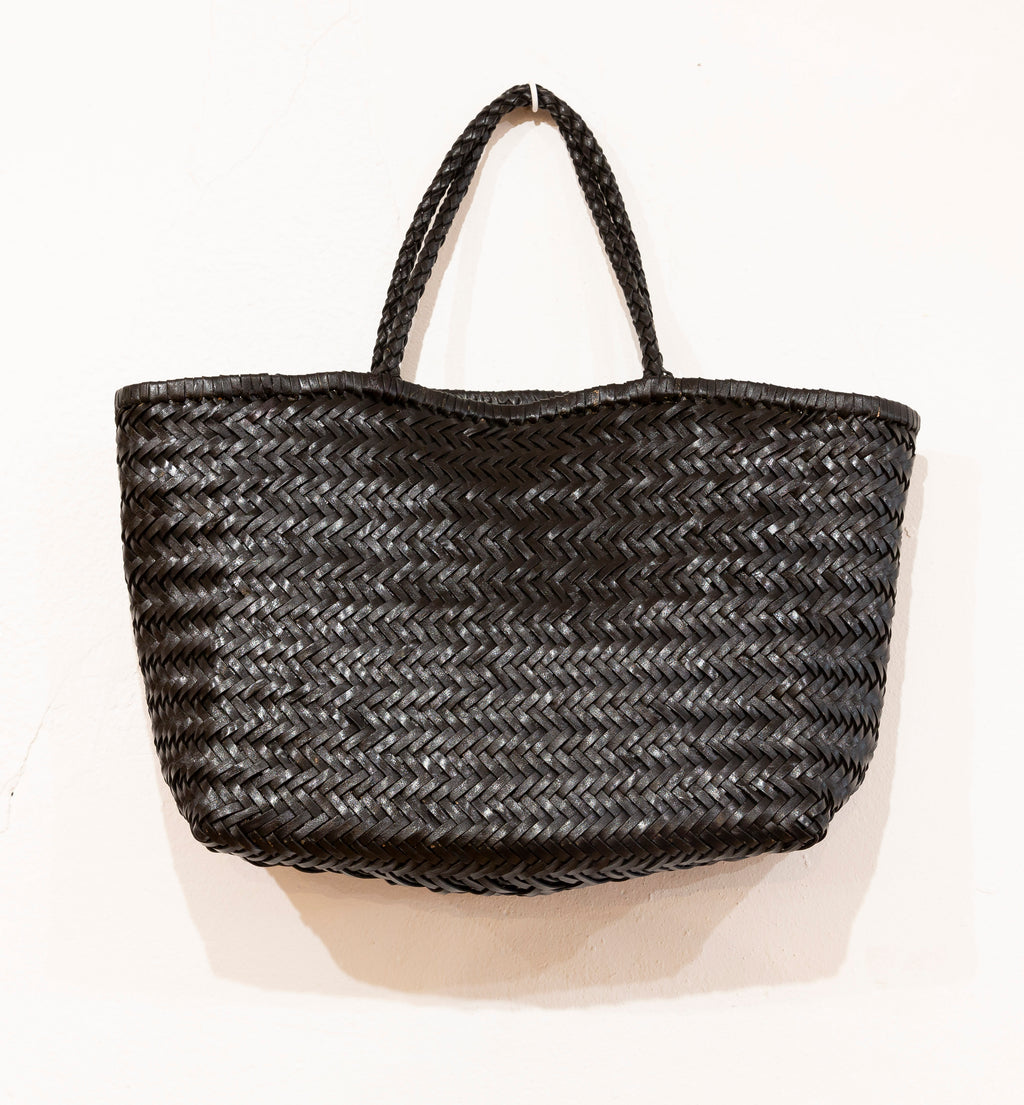 LEATHER BASKET LONG BLACK L