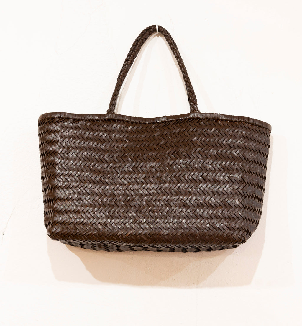 LEATHER BASKET LONG BROWN CHOCOLATE L