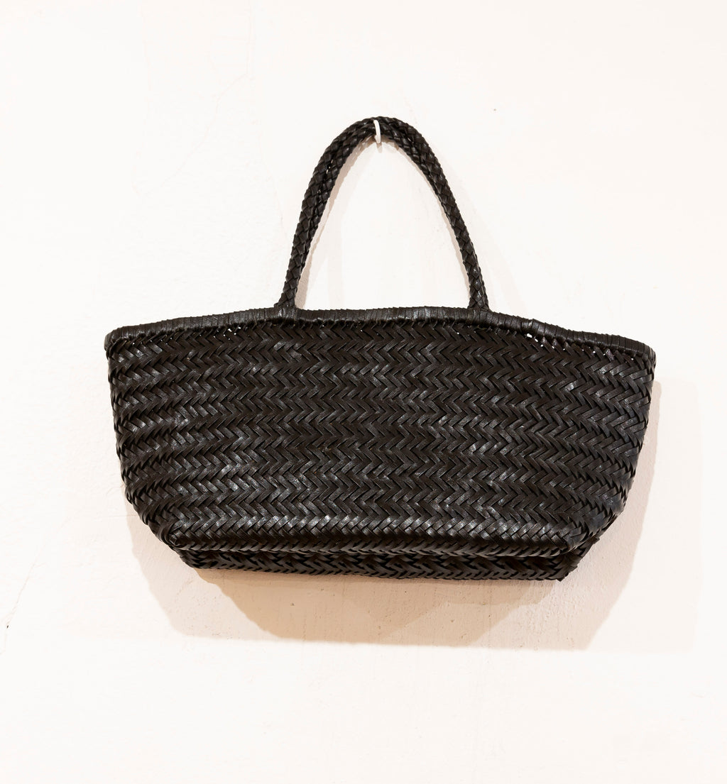 LEATHER BASKET  LONG BLACK  M