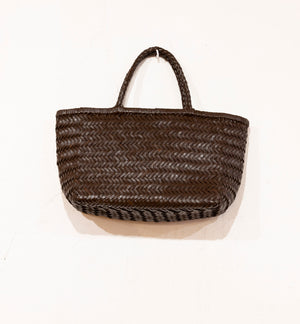 LEATHER BASKET LONG CHOCOLATE  S