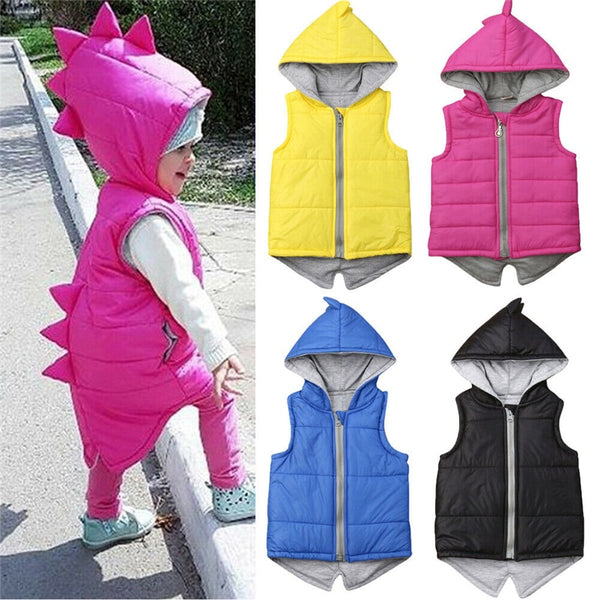 Vibrant Dinosaur Hooded Zip Up Vests with Spiky Scales