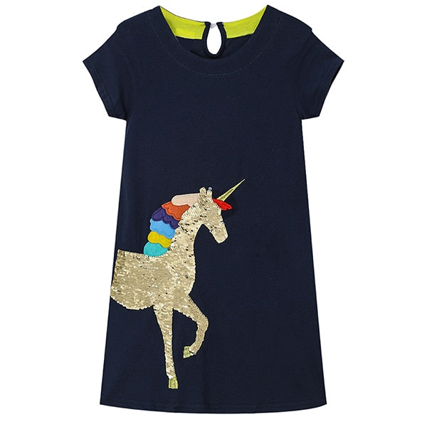 Sequin Flip Unicorn T-Shirt Dress