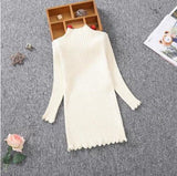 Sleek and Sophisticated Cream Knitted Dress