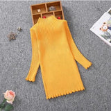 Sleek and Sophisticated Yellow Knitted Dress