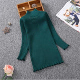 Sleek and Sophisticated Green Knitted Dress